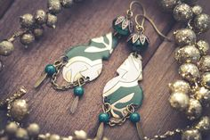 Green Gypsy Earrings with Decorative Vintage by MusingTreeStudios