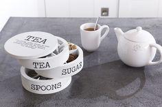 Cute and unusual tea/sugar/spoon storage