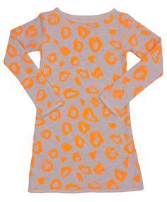 Dress neon orange leo   2yrs