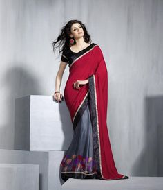 Red and Grey Color Half Crepe and Half Raw Silk Party Wear Sarees : Neerali Collection YF-19376