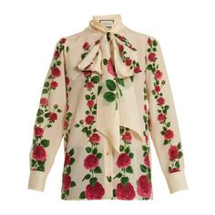 Gucci Rose Garden-print silk crepe de Chine blouse (35,530 MXN) ❤ liked on Polyvore featuring tops, blouses, ivory multi, floral silk blouse, neck ties, loose blouse, pink blouse and neck tie blouse
