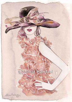DIOR dress and hat fashion illustration