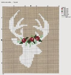 Reindeer with Garland • Chart. The original was worked on a gift bag made of browny/fawn  linen.