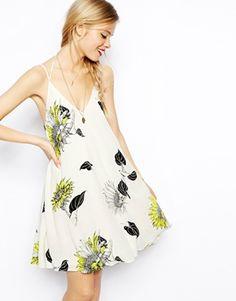 ASOS Swing Cami Dress In Sunflower Print