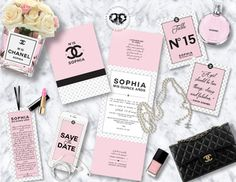 Chanel theme Quinceañera/ Sweet 16 Branding. Invitation, menu, table number, save the date, prayer, center piece