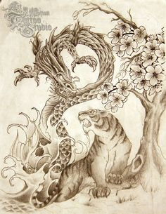 The tiger and dragon are ancient symbols of yin and yang, forces that combine to… Dragon Tiger Tattoo, Tiger Dragon, Dragon Art, Japanese Dragon, Chinese Dragon, Chinese Art, Tattoo Studio, Body Art Tattoos, Sleeve Tattoos
