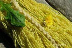 Week 20 Dyeing with dandelion leaves Viikko 20 Värjäys voikukan lehdillä Dandelion Leaves, Natural Dye Fabric, Fibre And Fabric, Crochet Yarn, Knitting Yarn, How To Dye Fabric, Hand Spinning, Printing On Fabric, Dyeing Yarn