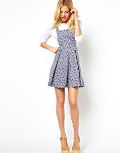 Image 4 ofASOS Pinafore Dress In Denim Look Floral $35