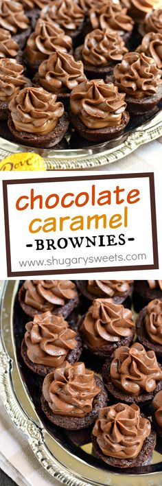 Decadent, fudgy Chocolate Caramel Brownie Bites with DOVE Chocolate. Chewy chocolate brownies with a creamy caramel candy filling! Topped with a rich chocolate caramel frosting, these brownie bites ar (Fudgy Chocolate Muffins) Chocolate Caramel Brownies, Chewy Brownies, Chocolate Desserts, Pretzel Brownies, Chocolate Eclairs, Chocolate Muffins, Mini Desserts, Easy Desserts, Delicious Desserts