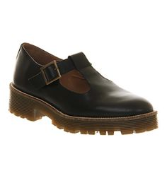 Office Taboo T Bar Black Leather - Flats