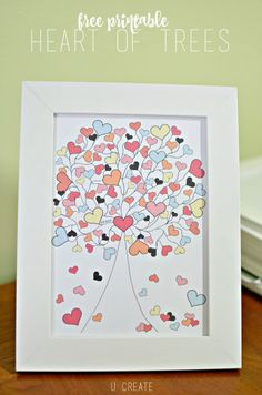 Heart of Trees Printable by U Create: Cute Valentine's Day artwork.