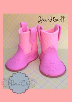 OMG HOW CUTE ARE THESE????!!!!! Fondant Cowboy Boots Cake Topper by vivalacakeshop on Etsy, $35.00