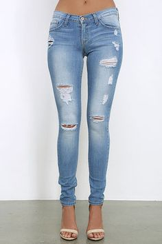 Take your time getting to and from in the Walk Along Medium Wash Distressed Skinny Jeans! Stretch denim skinny jeans features fading and distressing. Denim Skinny Jeans, Distressed Skinny Jeans, What Is Trending Now, What's Trending, Juniors Clothing Online, Skinny Legs, New Trends, Outfits For Teens, Stretch Denim