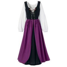 Renaissance Faire Ensemble  Created expressly for our Pyramid patrons! This versatile, three-piece ensemble features a full-length twill Dress with a rich brocaded bodice, reversing to black, with the royal purple skirt on both sides. The bodice cross-laces in front for lift and custom fit.