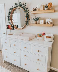Baby Dresser, Nursery Dresser, Nursery Room, Nursery Ideas, Ikea Baby Nursery, Nursery Mirror, Apartment Nursery, Nursery Shelves, Nursery Inspiration