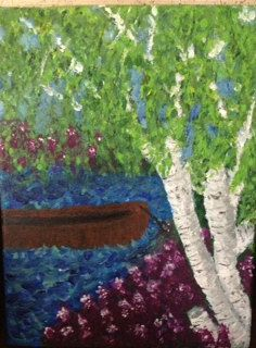 birch tree with boat by EarthStoneStudios on Etsy, $260.00