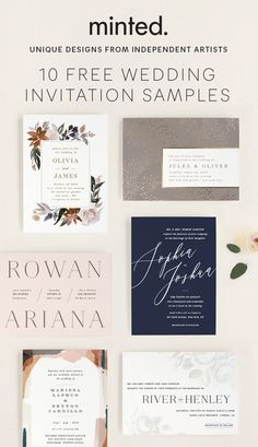 Get 10 FREE samples. Choose your favorite designs from independent artists. Free Wedding Invitation Samples, Minimalist Wedding Invitations, Destination Wedding Invitations, Wedding Stationary, Wedding Planner, Wedding Ceremony, Our Wedding, Dream Wedding, Wedding Design Inspiration