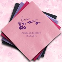 Cherry Blossom Personalized Napkins (25 Colors) (Wedding Star 9874) | Buy at Wedding Favors Unlimited (http://www.weddingfavorsunlimited.com/cherry_blossom_personalized_napkins_24_colors.html).