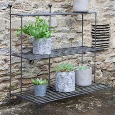 wooden and metal garden table - Google Search