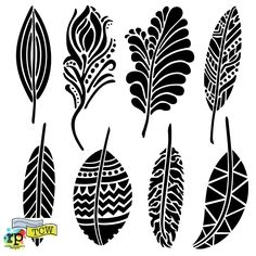 New Stencils Summer Fancy Feathers & Giraffe Print The Crafters Workshop saved in metal work for etching purposes Stencil Patterns, Stencil Designs, Stencil Templates, Machine Silhouette Portrait, Feather Stencil, Feather Template, Bird Stencil, Leaf Stencil, Damask Stencil