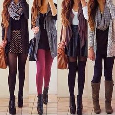 Stylish outfits with blazers, skinnies, scarfs and long boots