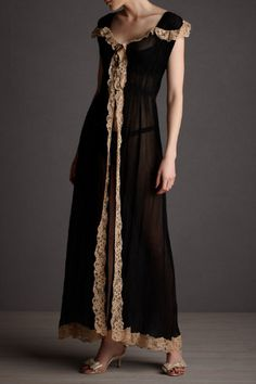 J'adore - Into-the-Evening Peignoir.  Cream lace edges the epaulet-style shoulders and soft silk robe.  From Fleur Wood.