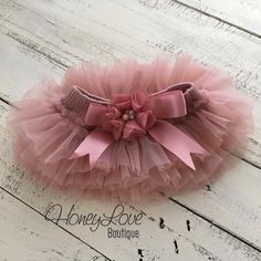 Dusty Pink Vintage Pink Dusty Rose Mauve tutu skirt bloomers diaper cover with embellished flower satin bow rhinestones and pearls, newborn infant toddler little baby girl photo shoot prop by HoneyLove Boutique