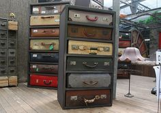 Drawers made of vintage suitcases.