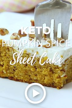 Keto Pumpkin Spice Sheet Cake - Low Carb Keto Pumpkin Spice Sheet Cake by I Breathe I'm Hungry. An easy Keto Pumpkin Spice Sheet Cake recipe for when you want low carb pumpkin spice cake but aren't worried about making it fancy! Pin created by . Carb Free Desserts, Low Carb Deserts, Low Carb Sweets, Low Carb Recipes, Baking Recipes, Diet Recipes, Easy Low Carb Dessert, Diabetic Dessert Recipes, Low Carb Cakes