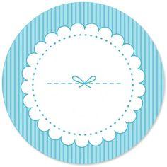 Etichetta Rotonda Fiocco Blu