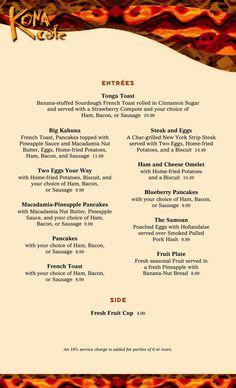 Kona Cafe - breakfast menue@ Disney's Polynesian Resort