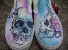 Glow in the Dark Skull Customized Vans Sneakers. $85.00, via Etsy.