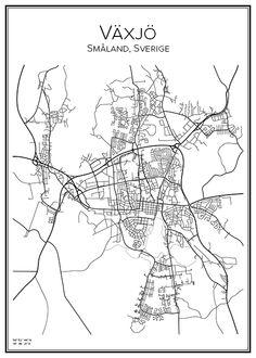 Växjö. Småland. Sverige. Karta. City print. Print. Affisch. Tavla. Tryck.