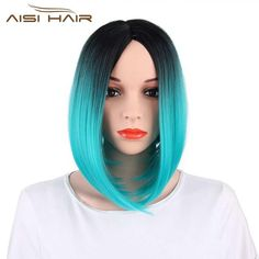 Symbol Of The Brand Alileader Two Tones Ombre Wig 14 Short Silky Straight Synthetic Hair Wig For Women Hair Extensions & Wigs Kanekalon Bob Style Afircan American Hair Synthetic Wigs