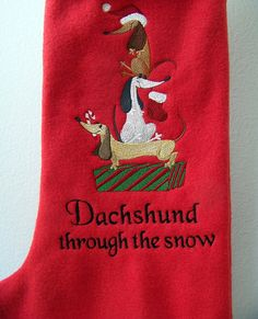 Dachshund Christmas Stocking , I need to make one for Christmas. Need it to have 3 brown dogs , to match the 3 we have in our home.