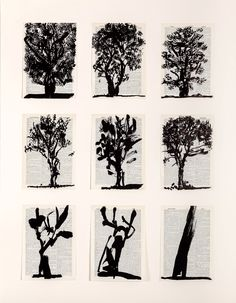 William Kentridge | Nine Trees, 2012 (Linocut printed on pages from Shorter Oxford English Dictionary)
