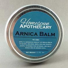 Arnica Herbal Balm made with all natural, healing & organic ingredients. This balm is our favorite way to soothe bumps, bruises, muscle and joint pain of any kind. #hsapothecary