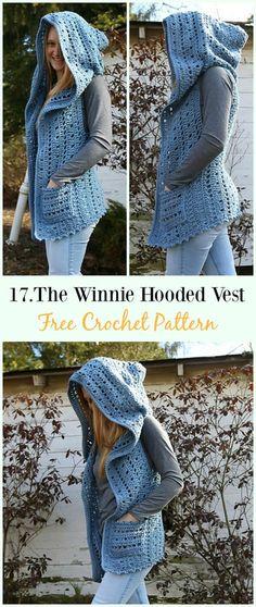 Crochet Women Vest Free Patterns [Spring Summer Sweater Outwear] The Winnie Hooded Vest Crochet Free Crochet Patterns Free Women, Crochet Vest Pattern, Crochet Cardigan, Crochet Shawl, Knit Crochet, Crochet Vests, Sewing Patterns, Knitting Patterns, Crochet Sweaters
