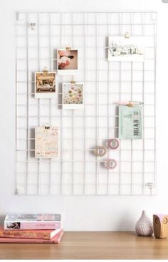 Wire mesh memo board for a modern minimalist work space in home office or studio