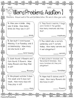 FREE Word Problems - Addition and Subtraction - A great freebie to ...