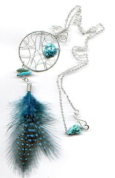 turquoise rocks with blue feather wire pendant necklace