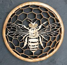 Honey Bee silhouette cut from Oak with a scrollsaw.