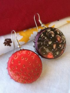 Berrylicious- upcycled bottle cap earrings