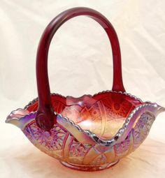 Vintage Indiana Red Carnival Glass Wedding Basket Handle Crimped Star Pattern