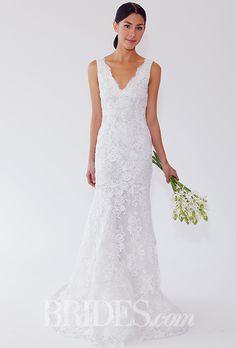 Brides.com: . Style 66E58, sleeveless sheath wedding dress with a V-neckline and lace embroidery, Oscar de la Renta