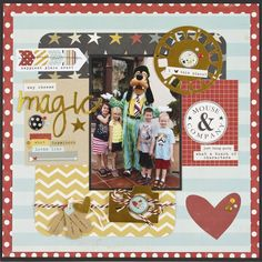 The Magic of Disney **NEW Simple Stories** - Scrapbook.com - Made with the NEW Simple Stories Say Cheese II collection with gold foil accents and all the Disney - inspired colors and patterns perfect for scrapbooking magical moments at Disney!