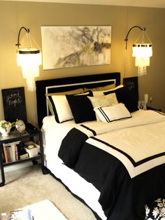 Black and white bedroom...have this color paint already...like?  Probably like the bright green better?