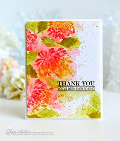 SAF 2016: Watercolor Like A Master With Kay Miller - Thank You Card by Kay Miller for Papertrey Ink (July 2016)