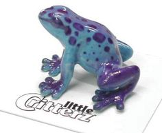Sapphire Blue Dart Frog. Collectible and adorable carded critter is individually hand-painted porcelain. $6.99 click to buy!