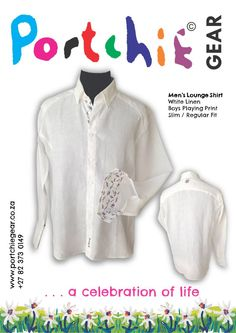 Men's Portchie Gear Shirt in 100% linen with boys playing print and embroidery detail on reverse